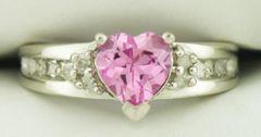10K White Gold Pink Tourmaline and Diamond Ring