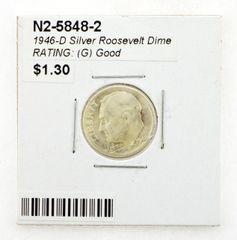 1946-D Silver Roosevelt Dime RATING: (G) Good (N2-5848-2)