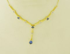 14k Yellow Gold Pear Shape Sapphire and Diamond Bar Drop Pendant Necklace