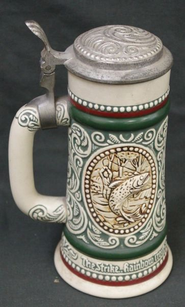 AVON BEER STEIN - AT POINT ENGLISH SETTER - THE STRIKE RAINBOW TROUT