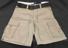 NEW MENS FADED GLORY BROWN CARGO SHORTS WITH BELT SIZE 30