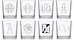 Four Custom Engraved Circular Whiskey Glasses