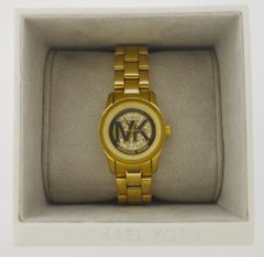 Michael Kors Mini Women's MK3304 Petite Runway Gold-tone Watch with Crystal Dial 26 mm + BOX