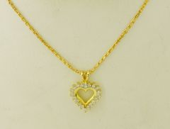 14k Yellow Gold Diamond Heart Pendant and Necklace