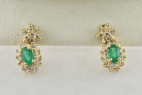 5977e1d6d Small Oval Emerald & Diamond Frame Earrings in 10K Yellow Gold | JC Jewelry  & Loan