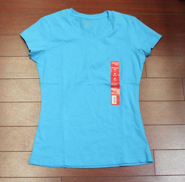 Danskin Now Women Essential Tee short sleeve V neck Light Blue Size 8-10