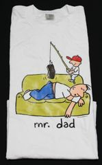 Mr. Dad T-SHIRT White Large ADULT FUNNY Shirt