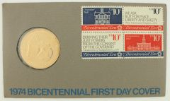 July 4,1974 US Bicentennial First Day Cover w/ Bronze Medallion 4 stamp block