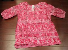 Women's Plus JMS Just My Size Print Voile Peplum Top Pink Posey/Hidden Butterfly