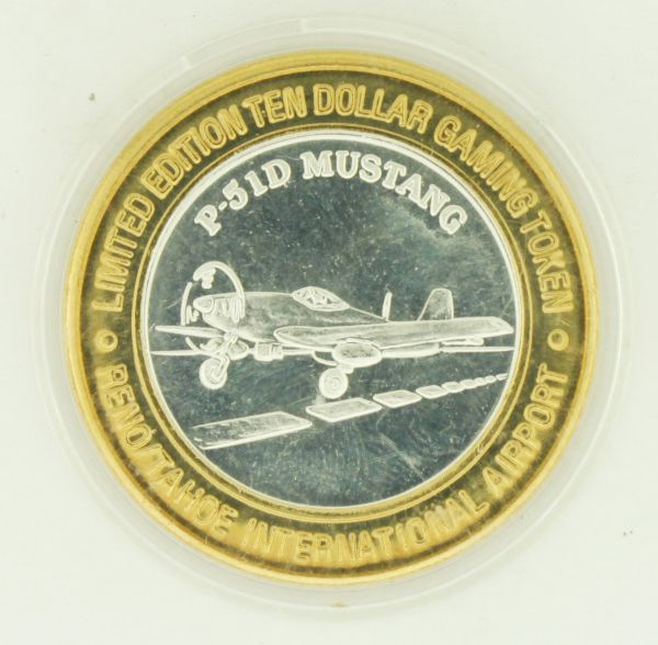 1996 Fly Reno Tahoe Airport P-51D Mustang Airplane GDC .999 Fine Silver Token