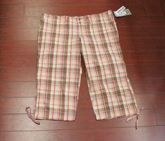 Women's Oh! Mamma Maternity Plaid Side Tie Capri Pink/Brown Size M