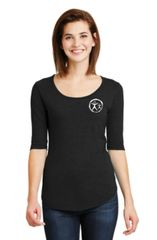 Womens Anvil Deep Scoop Neck 1/2 Sleeve Tee