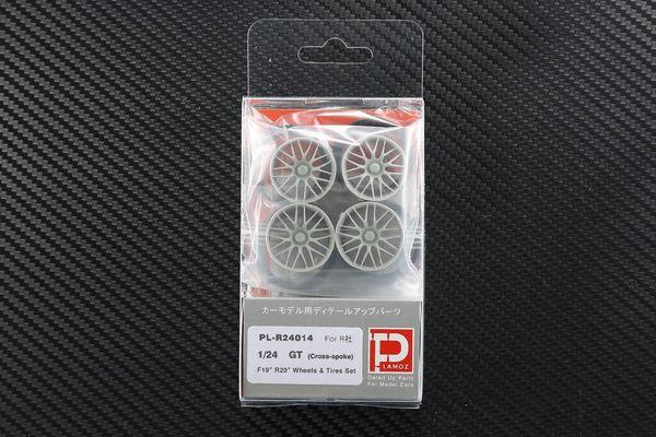 """1/24 GT (Cross-spoke) F19"""" R20"""" Wheels & Tires set"""