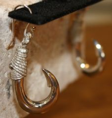 Mini Hawaiian Fish Hook Sterling Silver Earrings Inside Barb