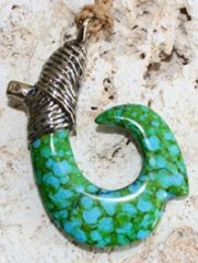 "Small Bronze Fish Hook Necklace ""Sea Mist"""