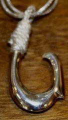 Mini Sterling Silver Hawaiian Fish Hook Pendant Outside Barb