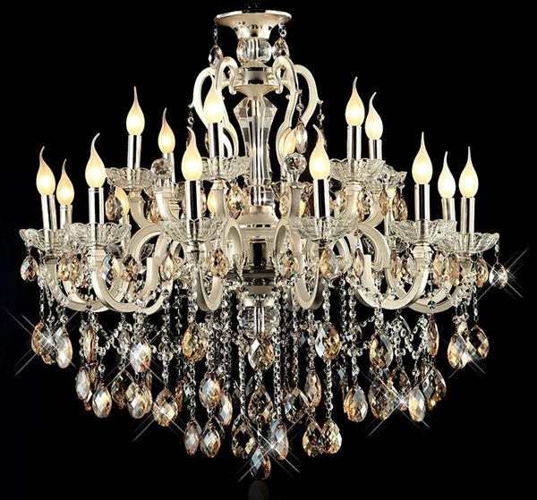 Modern large 18 arms gold crystal chandelier light amber crystal modern large 18 arms gold crystal chandelier light amber crystal aloadofball Image collections