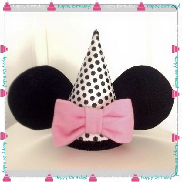 Minnie Mouse Birthday Hat With Pink Bow