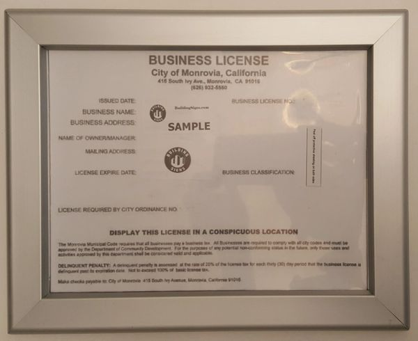 Business License Frame CA 8.5x...