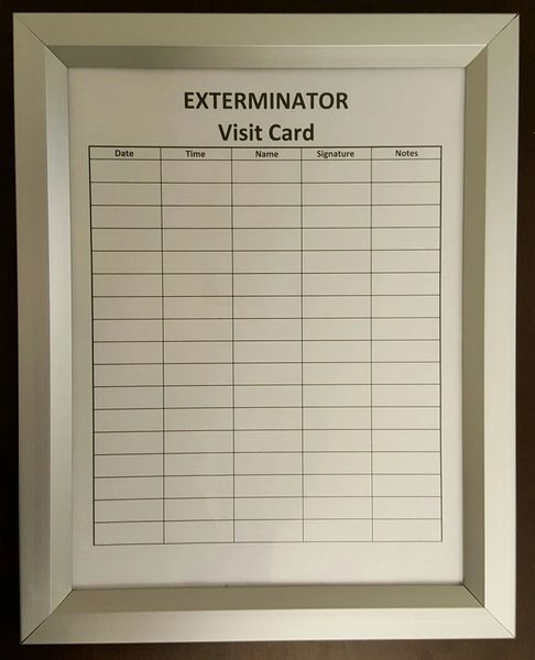 EXTERMINATOR VISIT FRAME (HEAVY DUTY FRAME IDEAL FOR USE IN NYC ...