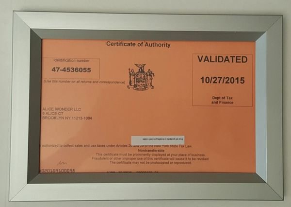 CERTIFICATE OF AUTHORITY FRAME (HEAVY DUTY FRAME IDEAL FOR NYC ...