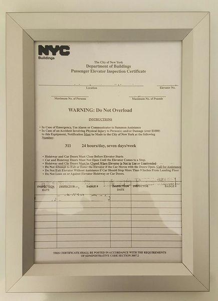 ELEVATOR CERTIFICATE FRAME 6X9 (ELEVATOR FRAMES 6X9)   HPD SIGNS ...