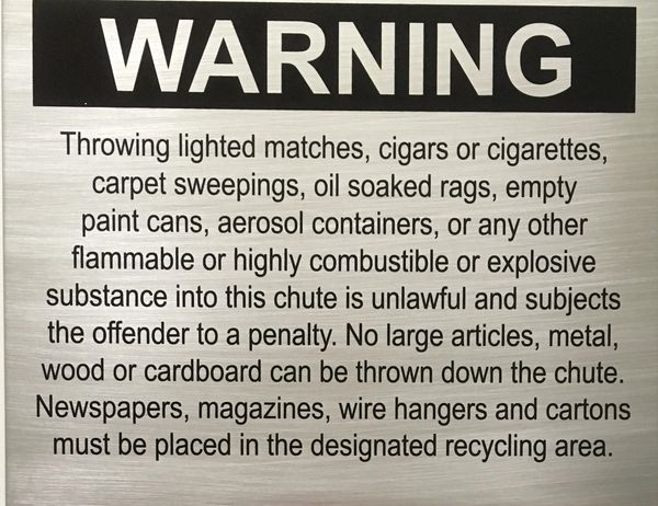 NYC DOB SIGN:Chute warnings-COMPACTOR CHUTE SIGN (SIZE 10 ...
