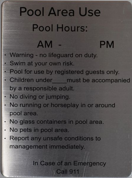 Hpd Signs Pool Area Guide The 12x9 Aluminum Hpd And Dob Signs