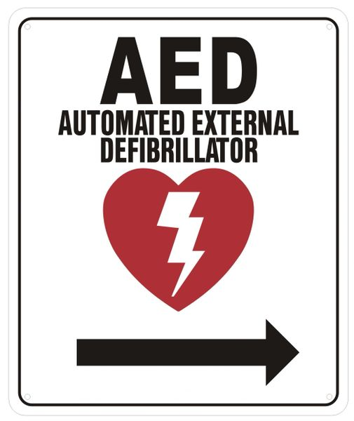 Aed Right Sign Automated Defibrillator Rightwards Sign Alumin