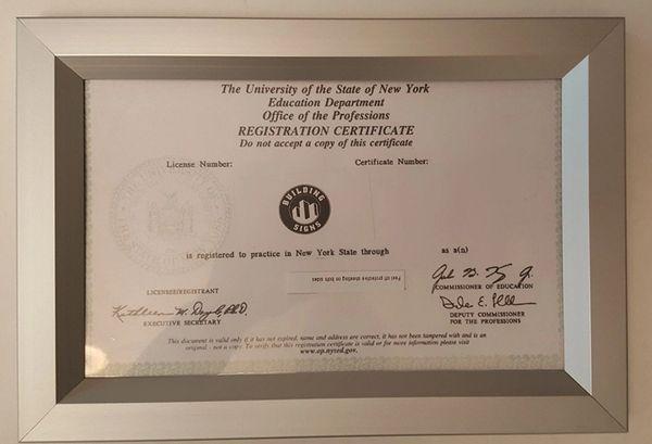 NYS REGISTRATION CERTIFICATE frame 8.5x5.5 ( Heavy Duty - Aluminu ...