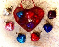 Leaded glass heart set