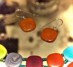 Orange Tagua Earrings