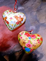 Hearts with Folk Art Bird Design