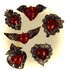 Tin Hearts with Red