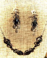 Scarab Earrings in Gunmetal