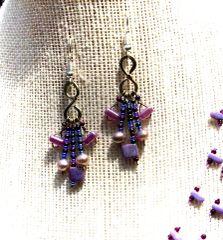 Lavender 5-strand Earrings