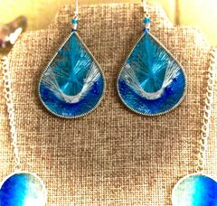 Beaded Thread Earrings - Ocean Blue
