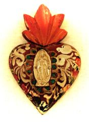 Hand-painted Sacred Heart with Milagro