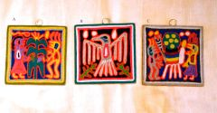 "Yarn Paintings - (smallest - 4"" x 4"")"
