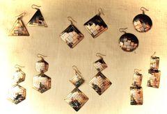 Tricolor woven brass earrings from Peru