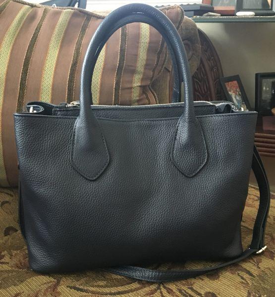4af36e61447c Navy Italian Leather Handbag | Leather Italian Imports - Romeo and ...