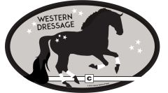 Euro Horse Oval Sticker: Western Dressage with horse Euro Sticker - Item # ES WD 2