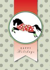 BOXED Christmas Cards: Happy Holidays. Black horse in Polka Dot Christmas Blanket - Item # BX Xmas 1