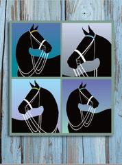 Thank You Card: 4 Silo Black Horses with Double Bridle Wood Background Item # GC TY Blue Silo