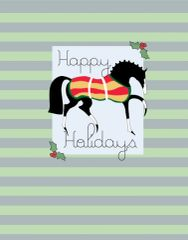 BOXED Christmas Card: Light Green Stylized Christmas Horse - Item# BX LGSCH