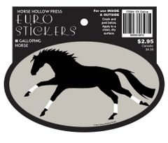 Euro Horse Oval Sticker: Galloping Horse with White Wraps Euro Sticker - Item # ES Gallop