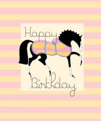 Gift Enclosure Card: Stylized Pink & Yellow Birthday Horse - Item # GEC Style P&Y