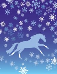 Christmas Card: Blue Galloping Horse with Wraps and Snowflakes - Item# GC X 108