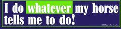 Bumper Sticker: I do whatever my horse... - Item # B I do