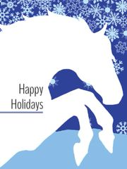 BOXED Christmas Cards: Happy Holidays. White rearing horse with snow flakes - Item # BX White